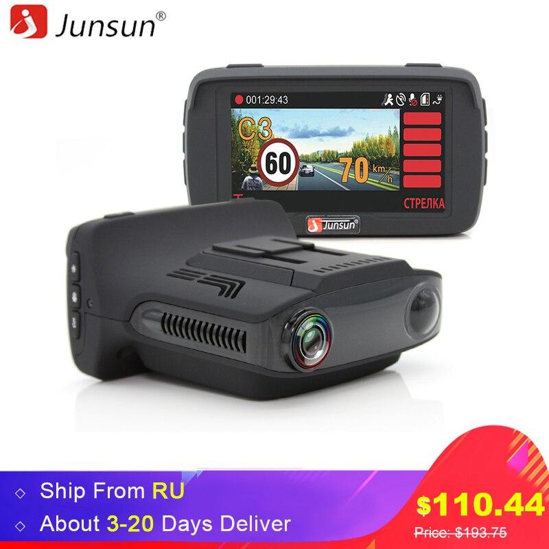 Junsun L2 Ambarella A7 Car DVR Camear Radar Detector Gps 3 in 1 LDWS HD 1080P Video Recorder Registrar Dashcam Russian Language автомобильный видеорегистратор anytek at66a 2 7 hd g wdr gps novatek96650 dashcam dvr gps