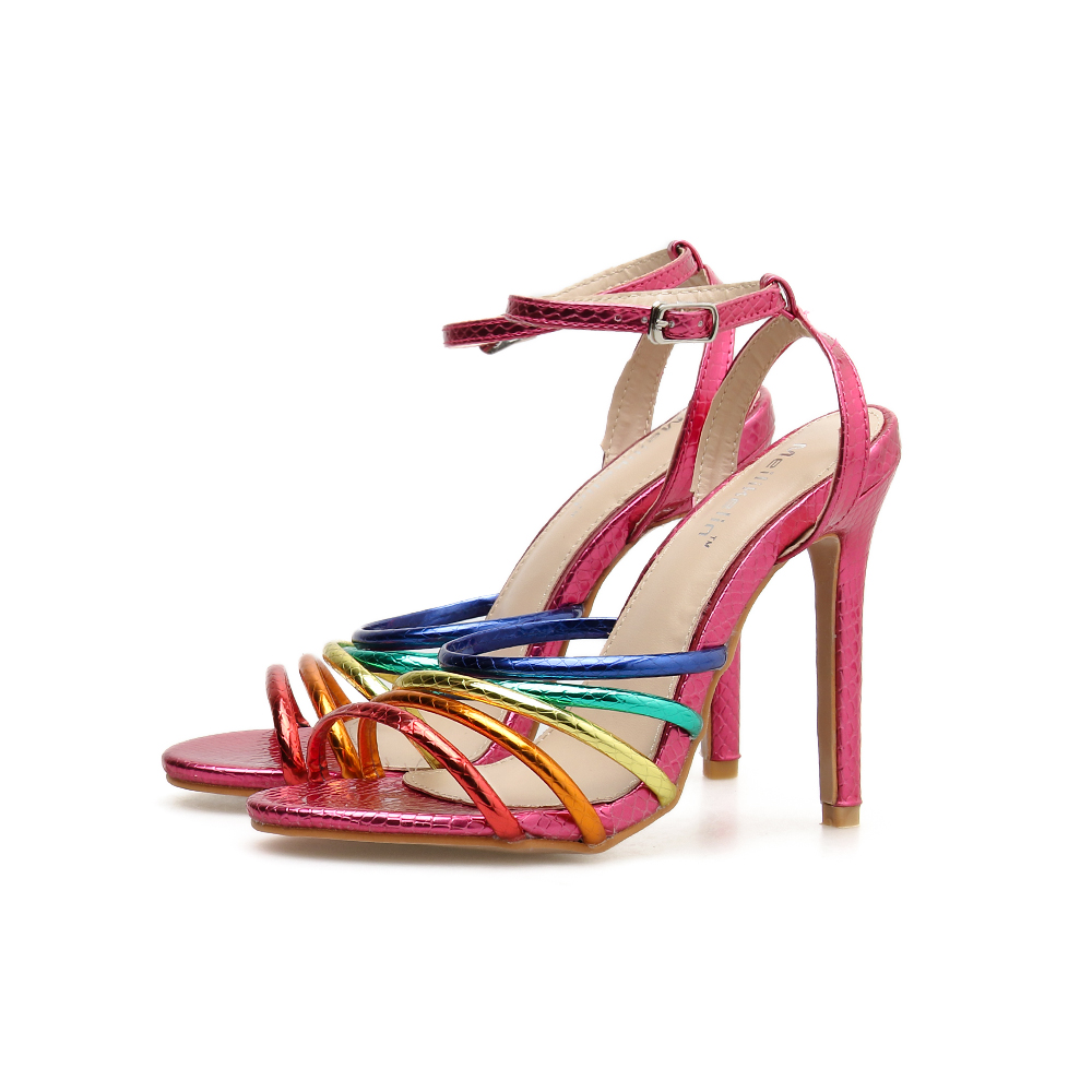 2019 women <font><b>shoes</b></font> High-heeled Roman <font><b>shoes</b></font> <font><b>sexy</b></font> color thin strap fashion sandals prom summer <font><b>shoes</b></font> strappy heels red <font><b>size</b></font> <font><b>11</b></font> image