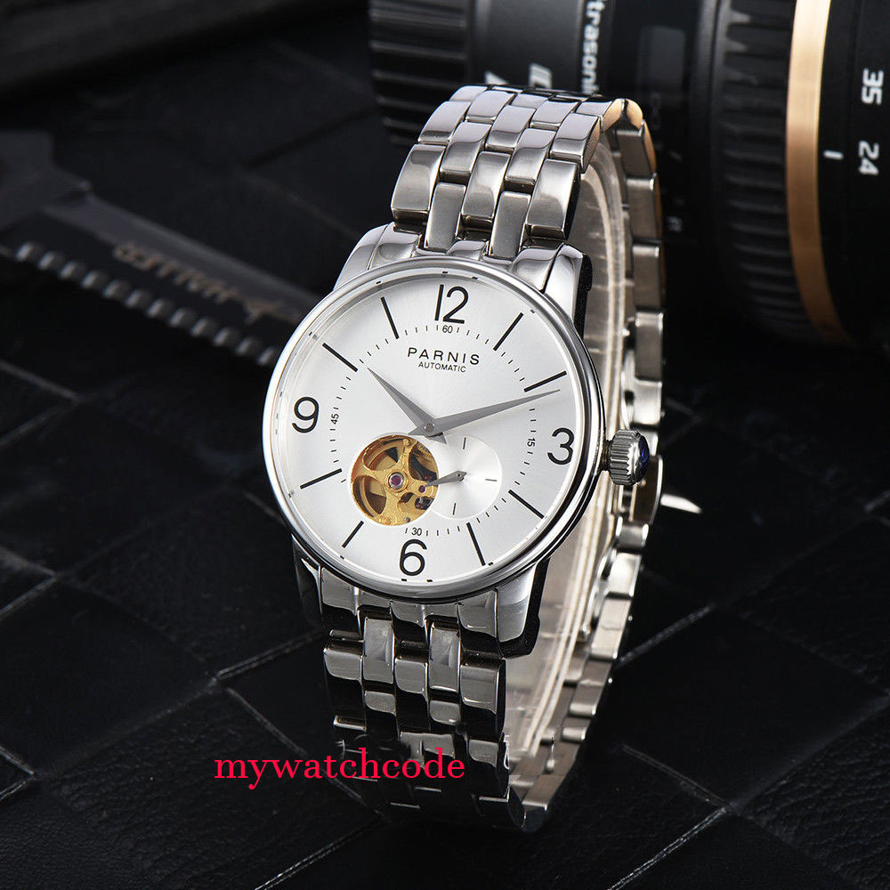 38mm Parnis white dial Hollow Dial Sapphire Crystal Miyota Automatic Mens Watch 42mm parnis withe dial sapphire glass miyota 9100 automatic mens watch 666b