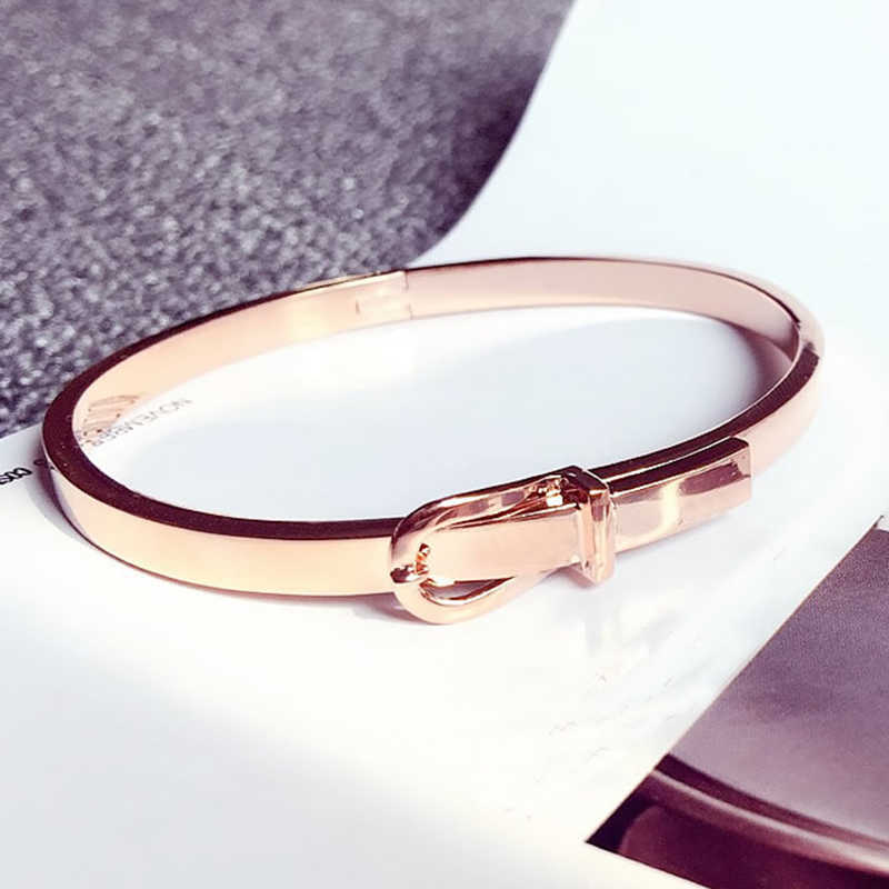 Fashion Expandable Wire Open Bangle Bracelet Manchette Women Girls Love Belt Cuff Bracelets Snap Button Stainless Steel Jewelry