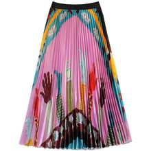 Women Medium Long Skirt Summer Skirts 2019 New Spring Luxury Rainbow Print Pleated Skirt High Waist Floral Vestidos Saia Couro(China)