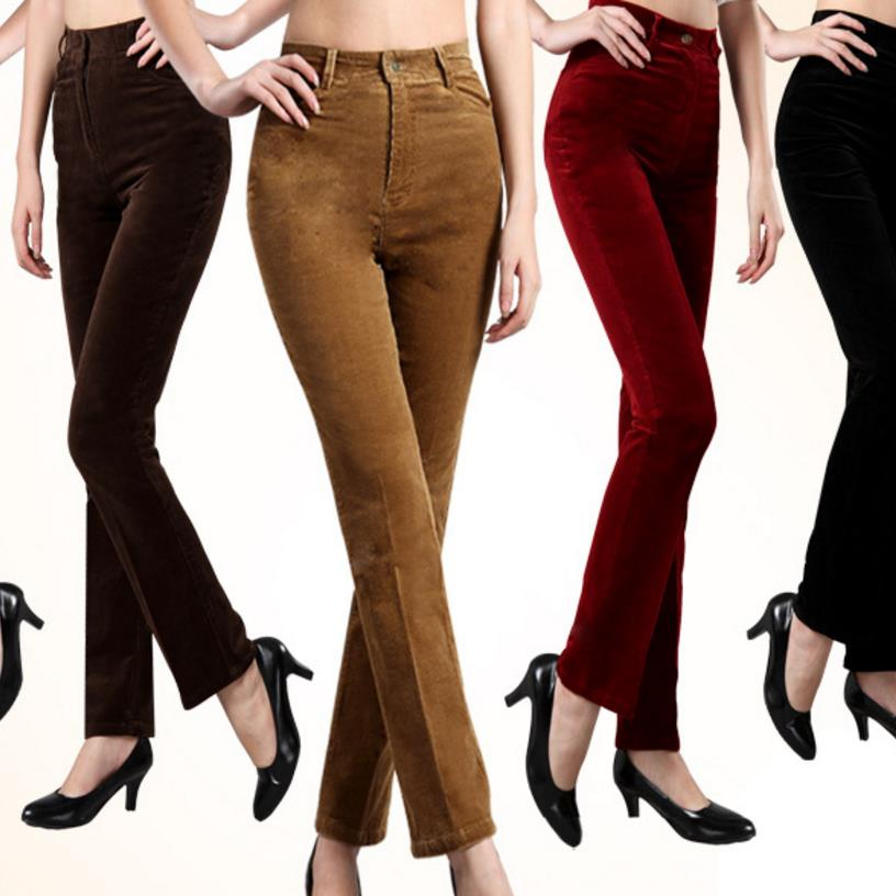 Large Size Corduroy Pants High Waist Women's Pants Casual Pants Autumn And Winter Straight
