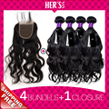 Peruvian Natural Wave With Closure,4PC Virgin Peruvian Hair Weave Bundles With Lace Closure,Human Hair With Closure