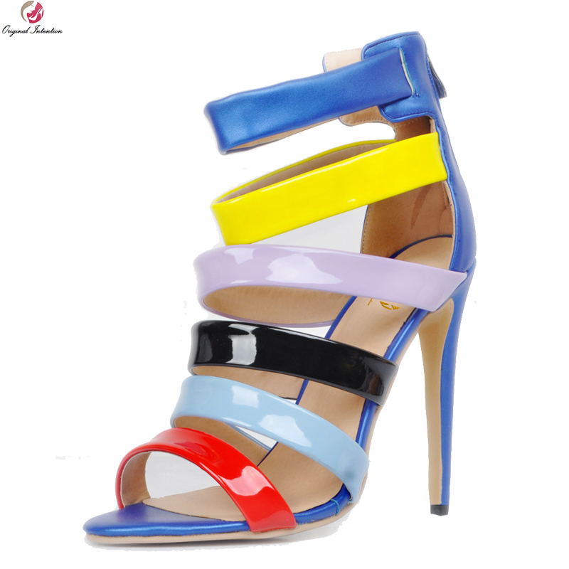 Original Intention New Stylish Women Sandals Fashion Open Toe Thin Heels Sandals Nice Multi Colors Shoes Woman Plus US Size 4-20 цены онлайн