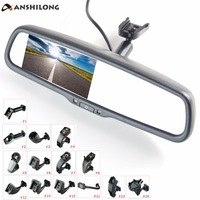 ANSHILONG 4.3 TFT LCD rear view mirror car monitor video input 2Ch with a special mounting bracket