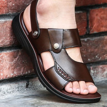 Men Sandals Split Genuine Leather Sandals Men Shoes