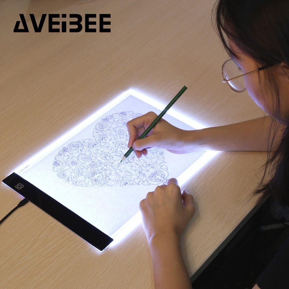 Tablettes numériques originales A4 LED graphiste mince Art pochoir planche à dessin boîte lumineuse traçage Table Pad trois niveaux pour la copie