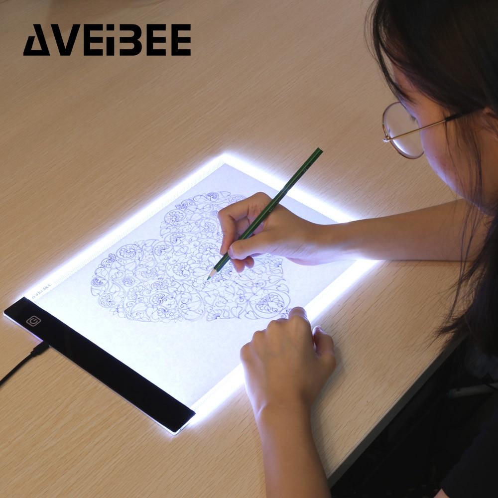 Tabuletas digitais originais a4 led gráfico artista arte fina estêncil desenho placa de luz caixa de rastreamento mesa almofada de três níveis para cópia