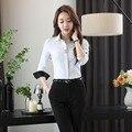 Novos Ternos de Trabalho Profissional Com Tops E Calças de Forma Magro Feminino Pantsuits Ladies Set Calças Ternos Outfits