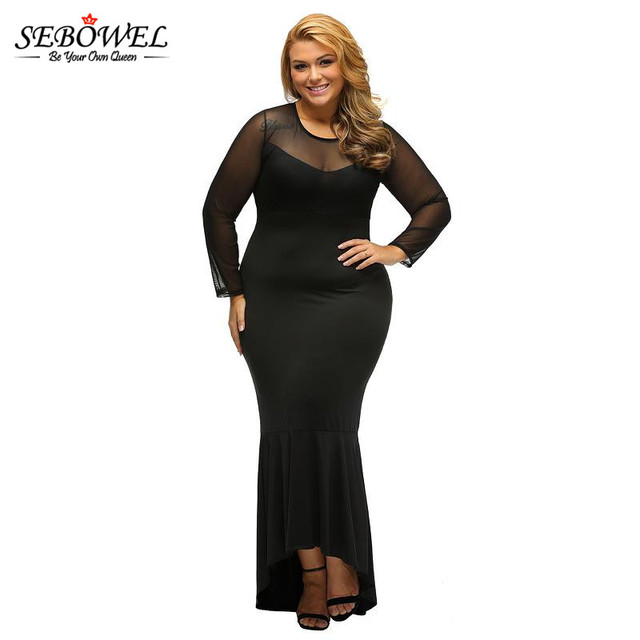 SEBOWEL 2017 Plus Size Elegant Women Vestidos Ladies Black Long Sleeve  Sheer Mesh Lace Curvy Mermaid Party Dress for Women 79ff7521c7c8