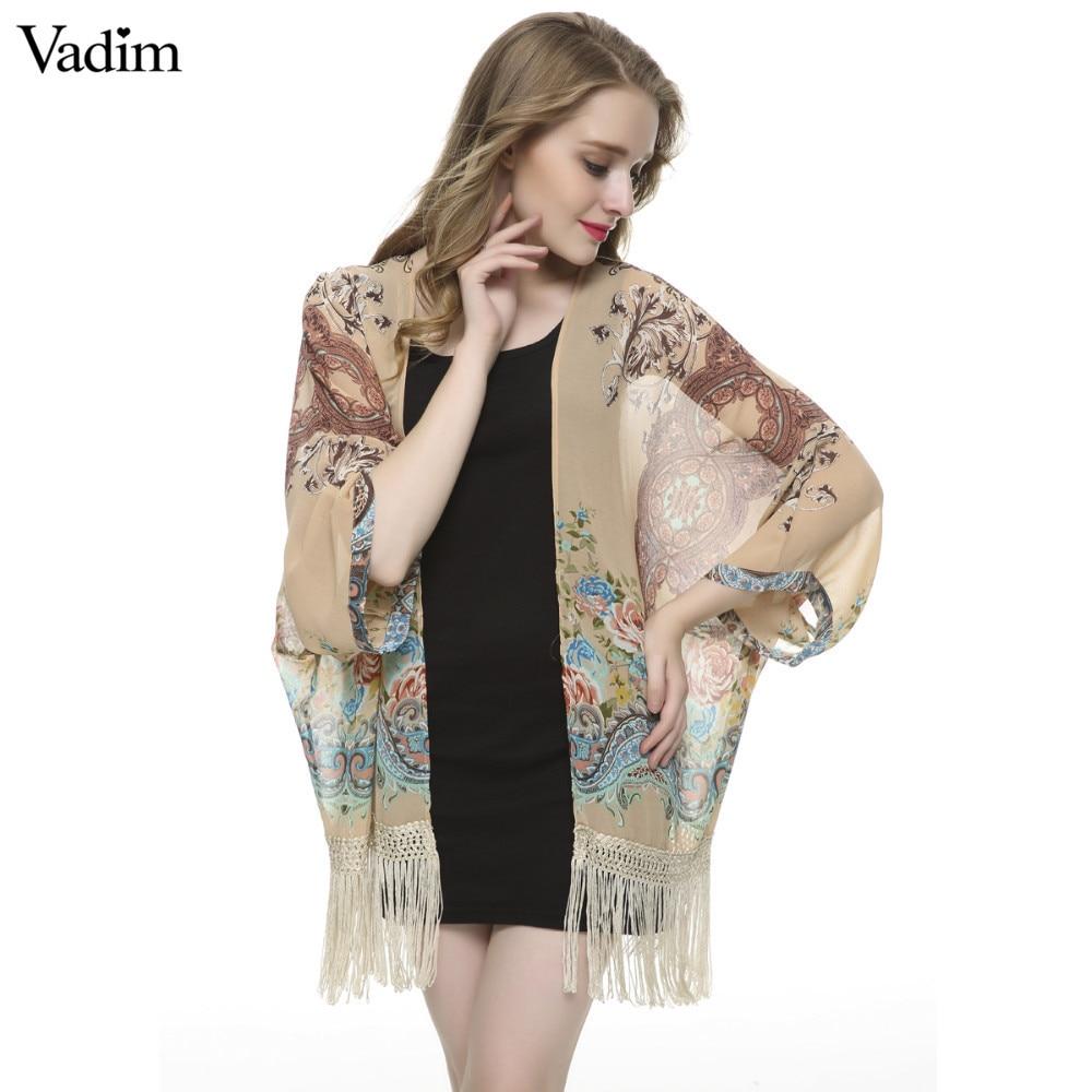 Jacken & Mäntel Clever Frauen Floral Quaste Chiffon Kimono Outwear Lose Vintage Cape Mantel Femininas Europäischen Casual Strickjacke Marke Tops Ct942 Basic Jacken