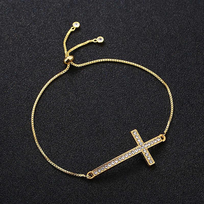 Haç İsa Hıristiyan Kadın Erkek Yatay Yan Çapraz Bilezikler için Gümüş Altın ayarlanabilir Bilezik Hediye toptan