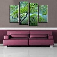 4 pz Lago sul bordo del albero Wall Art Picture for living room home decor stampato Pittura a olio di paesaggio su Tela di Canapa di arte stampa