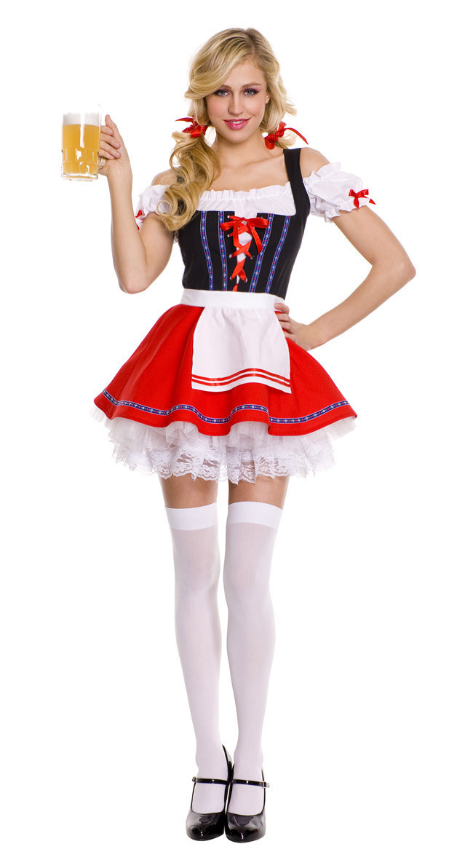 Halloween German Beer Girl Costume Fraulein Dirndl Fancy Dress Oktoberfest Costume M L XL 2XL