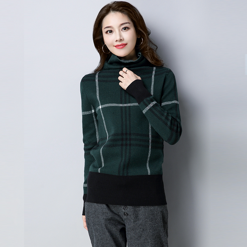 Blue Pullover Slim Size Collar Chinese New Clothes Wool Sweater Colour dark Plaid Plus Style 2018 M~3xl Winter Women khaki Pile Explosion Green Navy caramel UqdZd