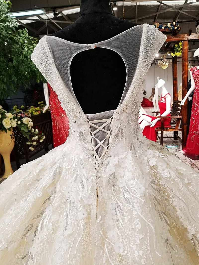 LS02149 платье люксоптовые роскошные платья венчания вышитый бисером крышка втулки зашнуруйте вверх bridal мантию венчания bridal мантии 2018