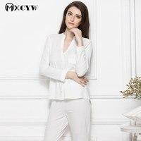 2017 Autumn Winter Cotton Solid Silk Pajamas Long Sleeves Cardigan Sleepwear Nightwear Female Home Clothes For