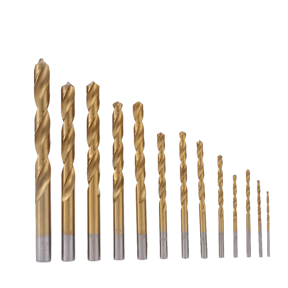 13pcs/set 2-12mm Drill Bits High-speed Steel Titanium Plated Twist Drill Bit Set useful HSS Woodworking Wood Metal Drilling Tool 99pcs high speed steel twist drill bits 1 5mm 10mm tool with case