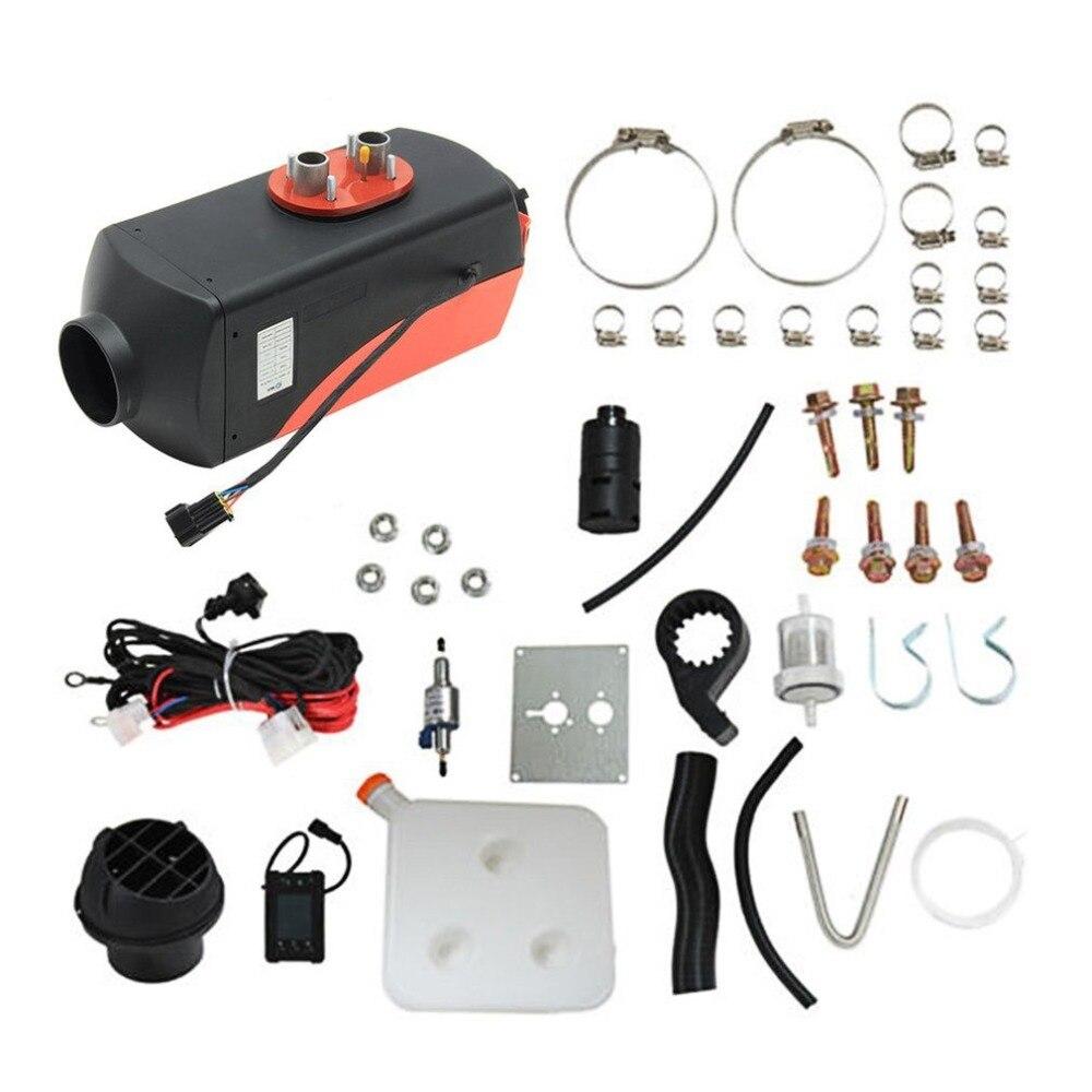 Universal 12 V 3KW estacionamiento Diesel calentador de aire interruptor de un solo orificio con silenciador para tanque conducto de ventilación termostato LCD interruptor negro