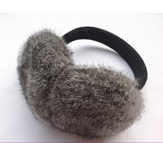 Natural rabbit fur ear warmer