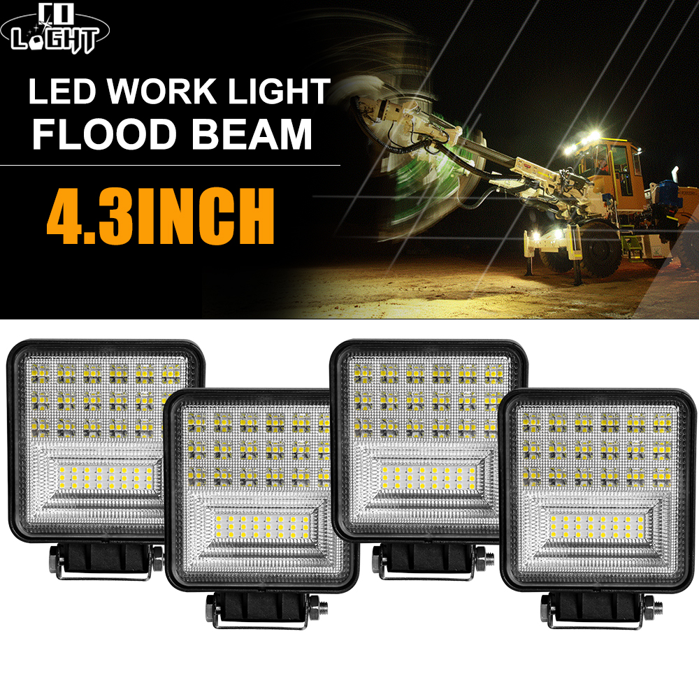 CO LIGHT 4inch 63W Offroad LED Light Bar Flood Led Beams DRL 12V 24V For Lada ATV SUV Motoclcle 4x4 Truck Tractor LED Work Light