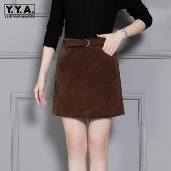 Top Quality Genuine Leather Suede Women A-Line Skirts High Waist Sashes Streetwear Slim Fit Plus Szie S-4XL Female Wrap Skirts