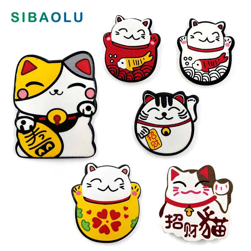 6pcs Japan Lucky Cats fridge magnets Cartoon Kitten animals whiteboard sticker Refrigerator Kid Message post Home Decoration(China)