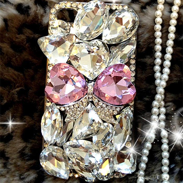 Bugetelefon er luksus Bling Diamond Gem Flower Crystal Hard Case - Mobiltelefon tilbehør og reparation dele - Foto 2