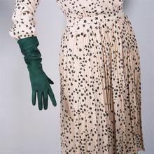 Gants en cuir daim pour femmes, imitation de cuir, Section moyenne et longue, 40cm, vert foncé, vert forêt encre, WJP01