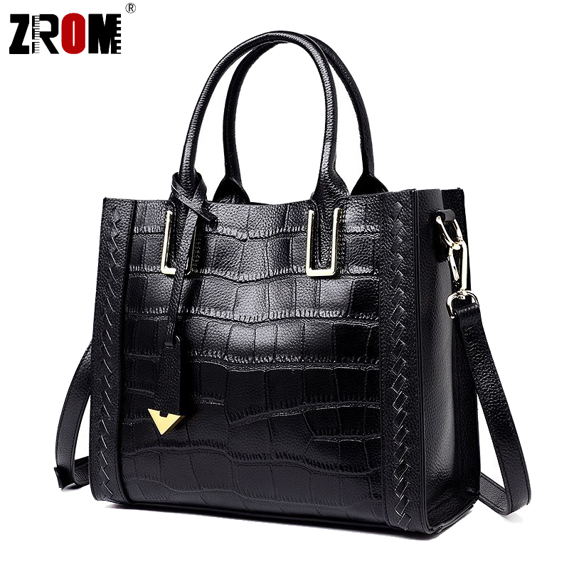 ZROM Real Handbags Genuine Leather Big Women Tote Bags Female Fashion Designer High Quality Office Ladies Messenger Bags 2018-in Top-Handle Bags from Luggage & Bags    1