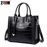 ZROM Real Handbags Genuine Leather Big Women Tote Bags Female Fashion Designer High Quality Office Ladies Messenger Bags 2018