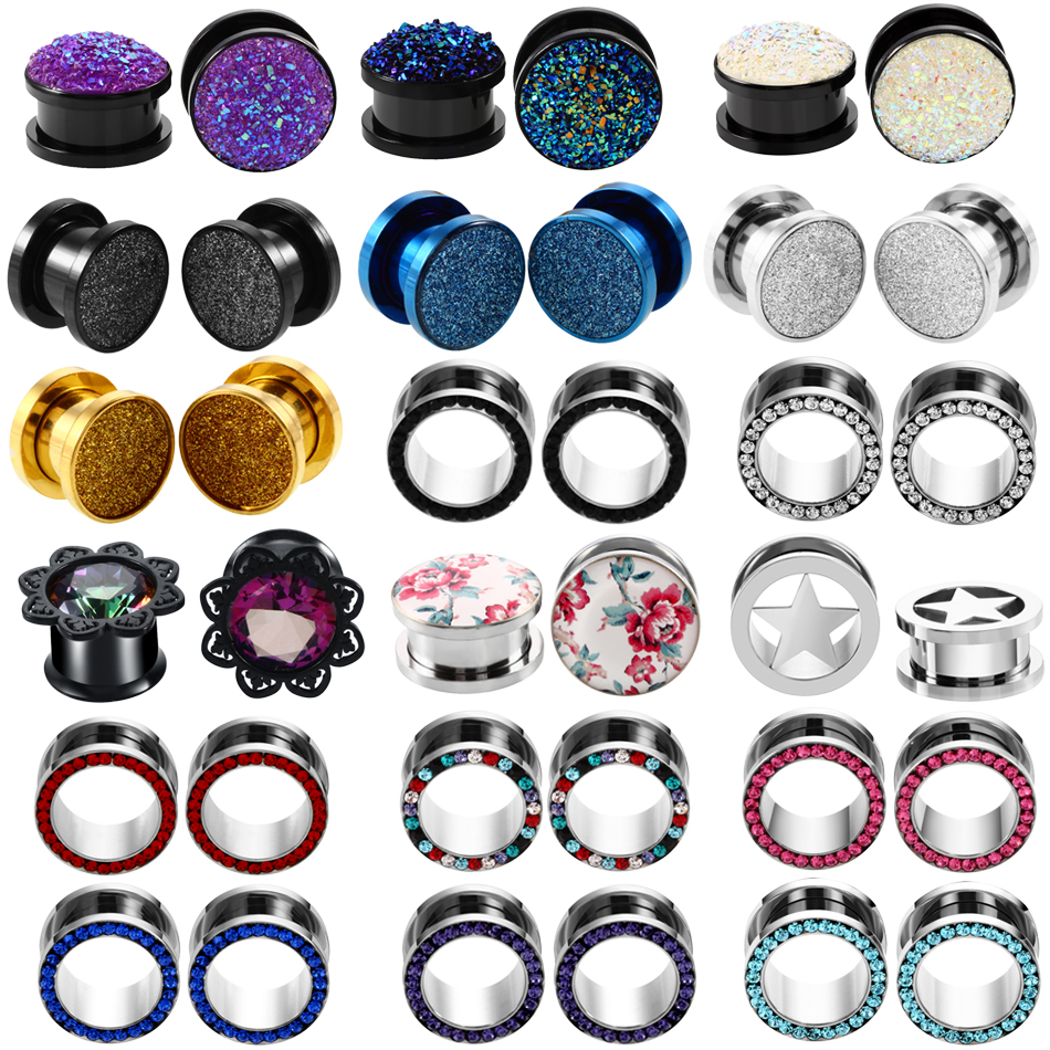 2pcs/lot Stainless Steel Ear Plugs and Tunnels Ear Piercings