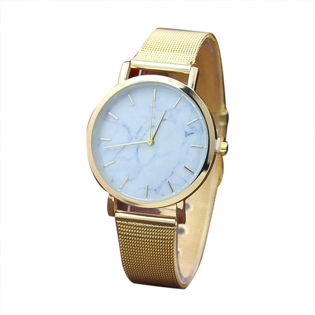 2018 quartz Marble Surface Stainless Steel Band Quartz Movement Wrist Watch Fashion Luxury Watch Ladies relogio feminino Golden
