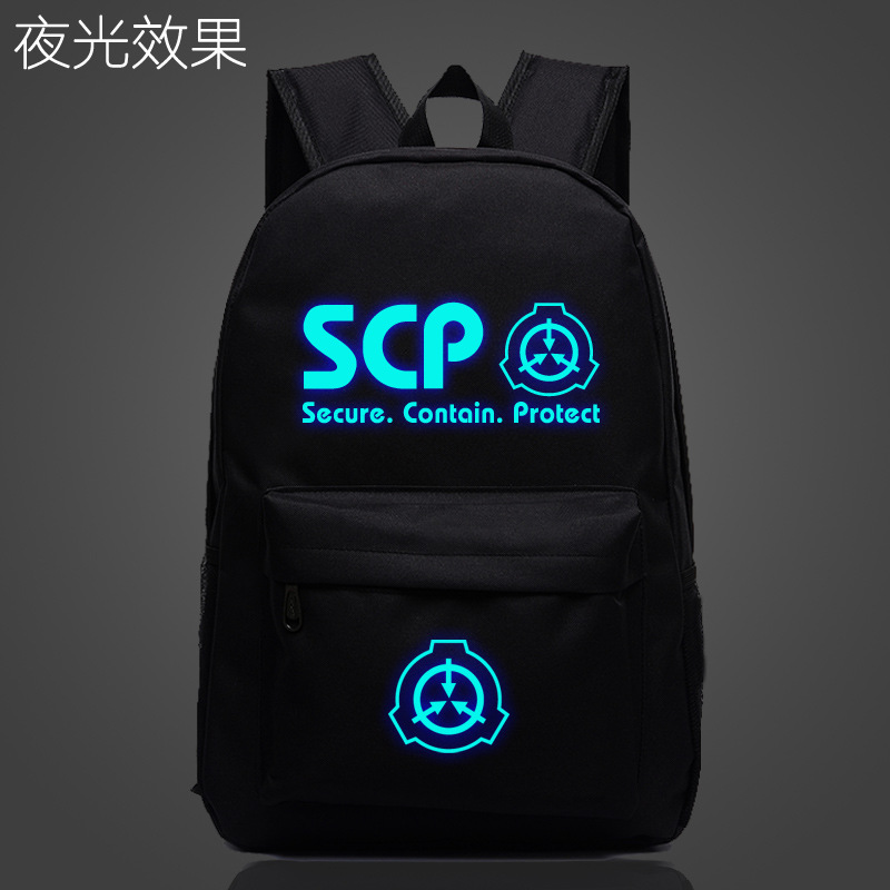 Student Bag Mochila Notebook-Daily-Backpack School-Bag Secure Glow-In-The-Dark SCP Protect