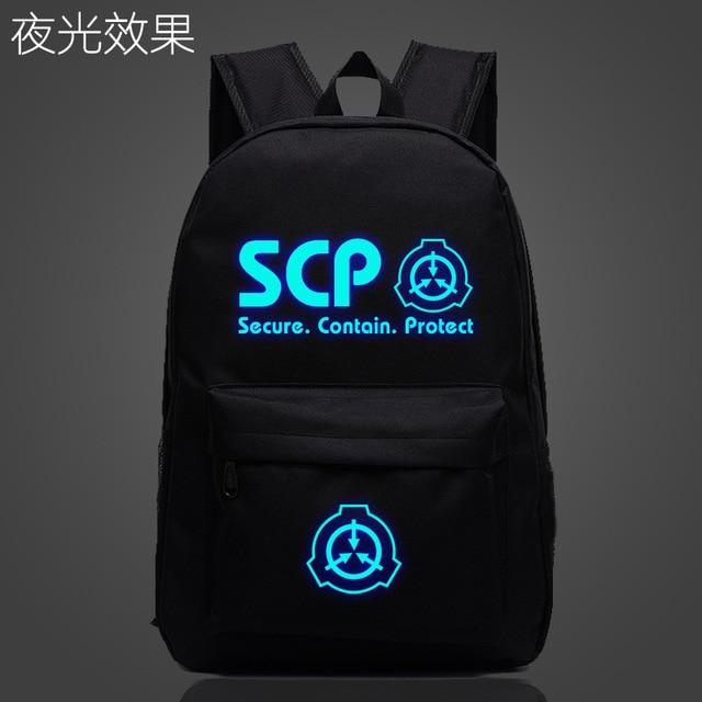 SCP Secure Contain Mochila escolar protectora, luminosa, nocturna, bolso para estudiante, Notebook, Mochila de uso diario, Mochila que brilla en la oscuridad