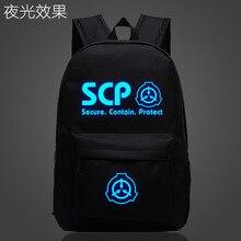 SCP Sicuro Contengono Proteggere Sacchetto di Scuola noctilucous Luminoso studente zaino borsa Per Notebook borsa zaino Quotidiano di Glow in the Dark Mochila