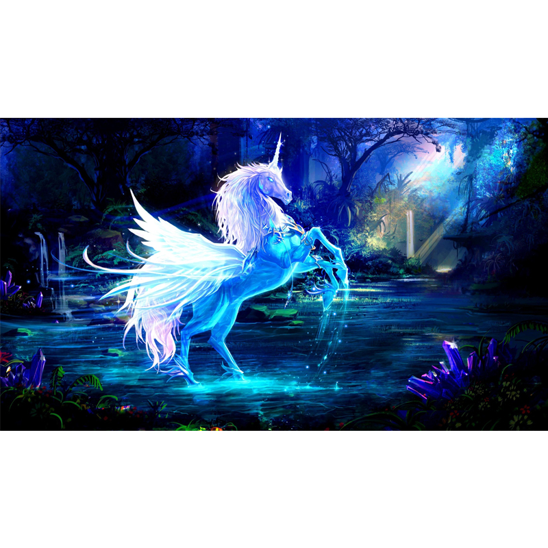 Full Square Drill 5D DIY unicorn horse water rays forest blue diamond painting Cross Stitch 3D Embroidery Kits H108 in Diamond Painting Cross Stitch from Home Garden