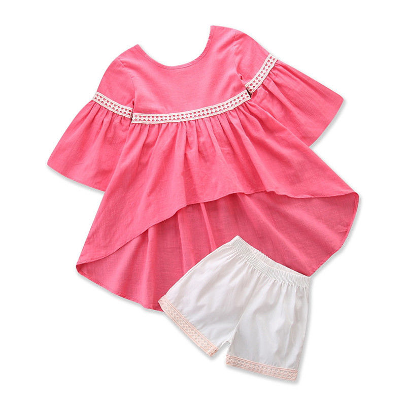 Lovely Girl Clothes Summer Kids Baby Girls T-Shirt Pullover Irregular Top Infant White Shorts Pants 2pcs Outfits Clothing Set 2pcs children outfit clothes kids baby girl off shoulder cotton ruffled sleeve tops striped t shirt blue denim jeans sunsuit set