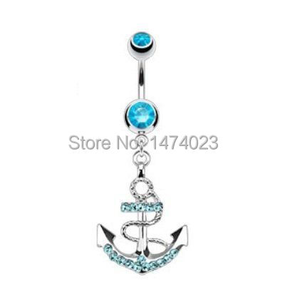 Us 12 0 Gem Paved Fancy Anchor Ship Boat Wheel Navel Ring Aqua Cz Gems Dangle Belly Button Piercing Jewelry Mix Order Wholesale On Aliexpress Com