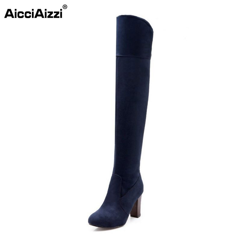 size 30-47 women square high heel over knee boots fashion snow long boot warm winter brand botas footwear heels shoes P20222 enmayer over the knee boots shoes new pu knitting square heel high boots warm snow long boots red brown black knight boots