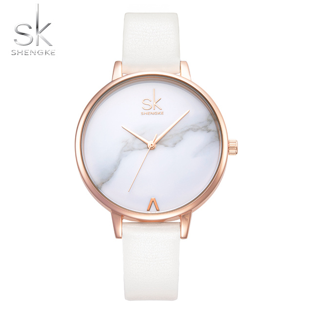 Shengke Luxury Brand Fashion Ladies Watches Leather Female Quartz Watch Women Thin Casual Strap Watch Reloj Mujer Marble Dial SK 3310