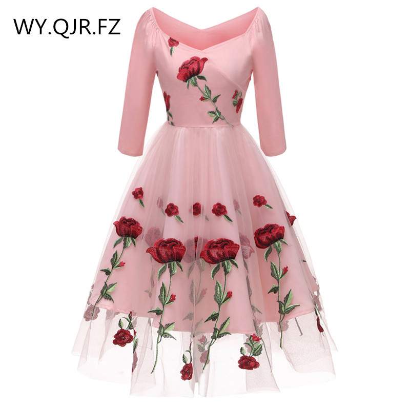 CD1657#Lace Embroidery Pink And White Short Bridesmaid Dresses Wedding Party Dress Gown Prom Wholesale Fashion Women's Clothing