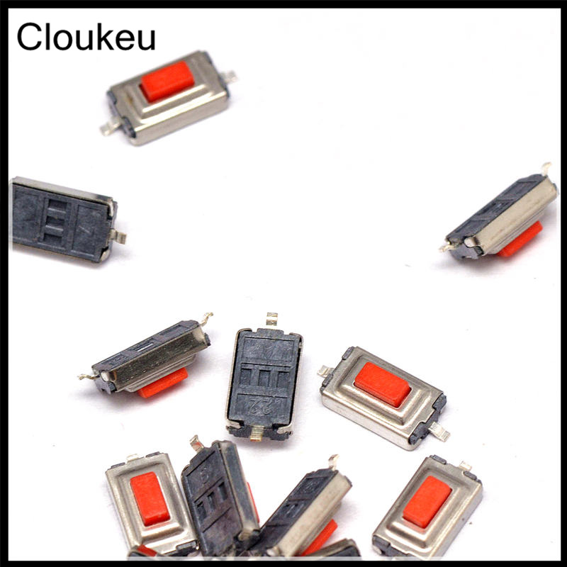 Cloukeu 100Pcs Red 3*6*2.5 SMD2 3x6x2.5mm Touch micro Push Button Switch 6 3