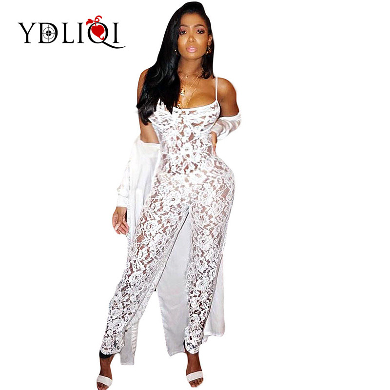 Summer Zipper Hollow out See Through Party Catsuit overall Spaghetti Strap Sexy Lace Jum ...