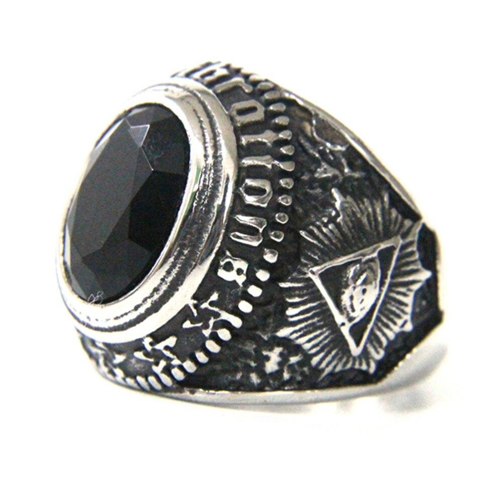 Unterstützung Dropship Schwarz Stein Auge Ring 316L Edelstahl Schmuck Mode Heißer Verkauf Ring