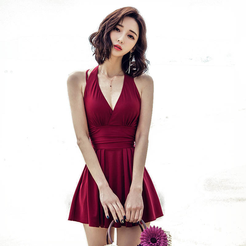 f43953ead1535 Sexy Swimsuits One-piece Swimsuit Women's Swimming Suit Skirt Style Small  Chest Gather Together Swimsuit Woman Large Size