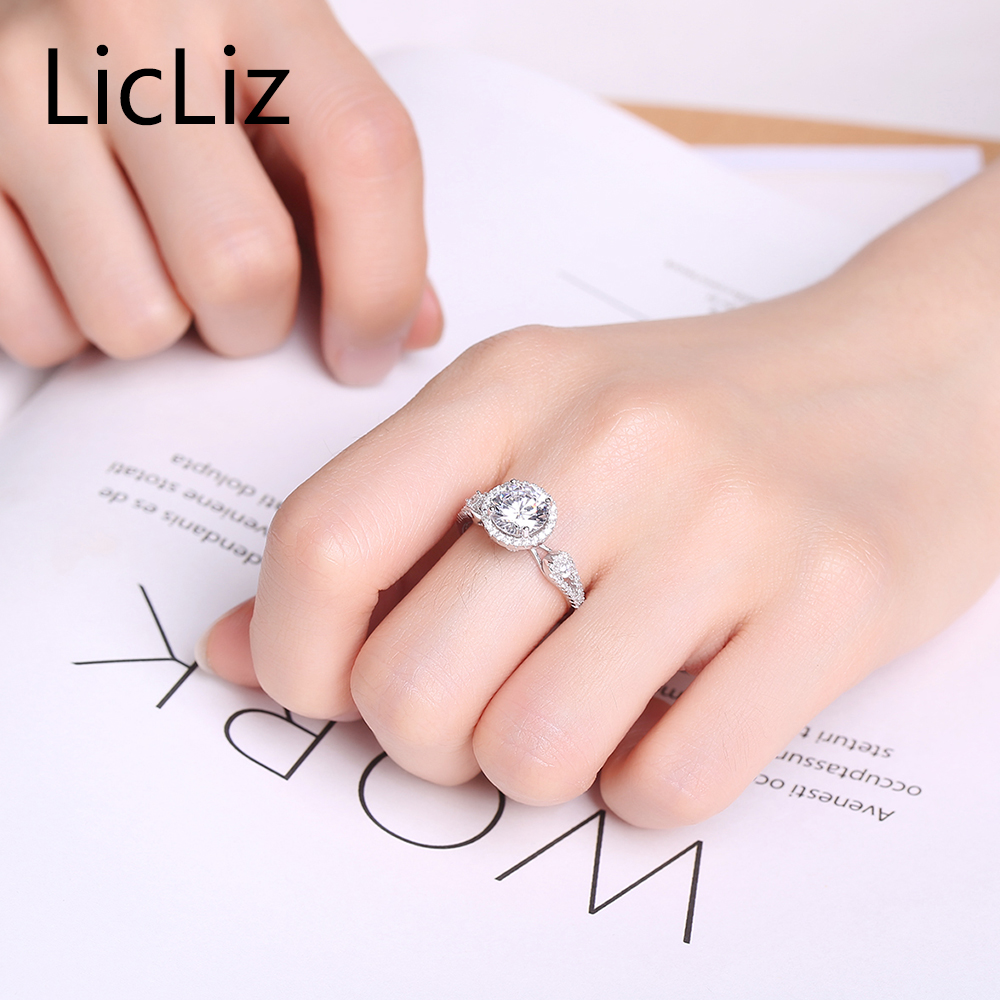 LicLiz Real 925 Sterling Silver Wedding Rings Women Round Engagement ...