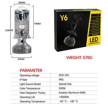 1set*High power china best hi lo beam h4 mini projector lens Y6 ledheadlight for car auto part fanless