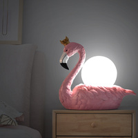 Pink Flamingo Wearing A Crown Table Lamp For Living Room Bedroom Bedside Lamp Resin Flamingo Table Lamp ABS Lampshade Table Lamp