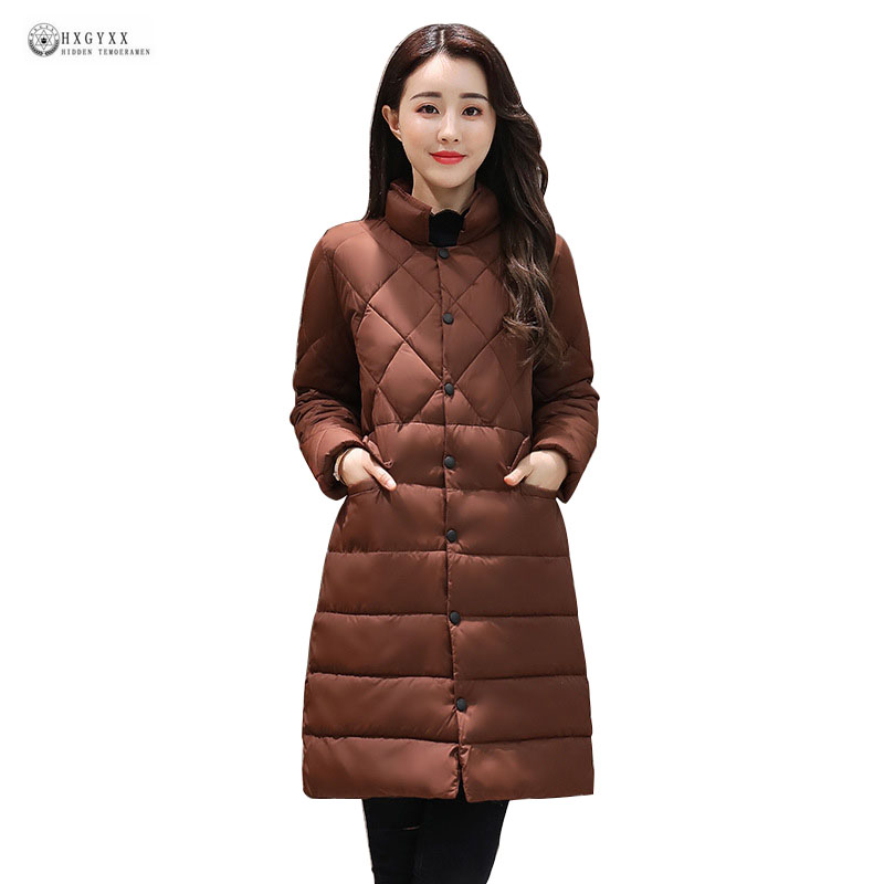 New Long Autumn Winter Jacket Women Parkas Solid Color Stand Collar Single Breasted Straight Cotton Coat Female Outerwear OK997